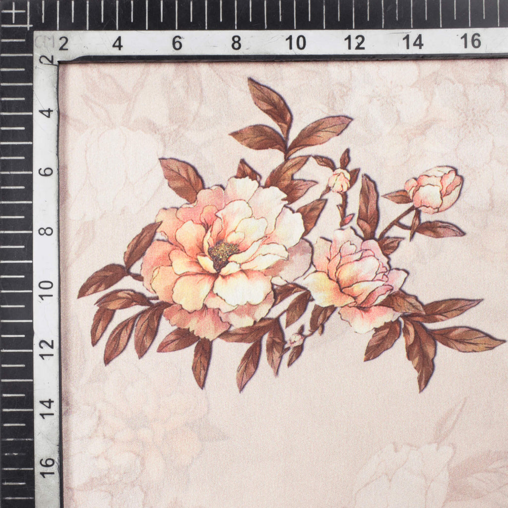 Beige And Peach Floral Pattern Digital Print Georgette Satin Fabric - Fabcurate