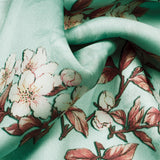Pale Turquoise And Orange Floral Pattern Digital Print Georgette Satin Fabric - Fabcurate