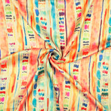 Peach And Turquoise Tie & Dye Pattern Digital Print Georgette Satin Fabric