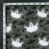 Grey And White Halloween Pattern Digital Print American Crepe Fabric