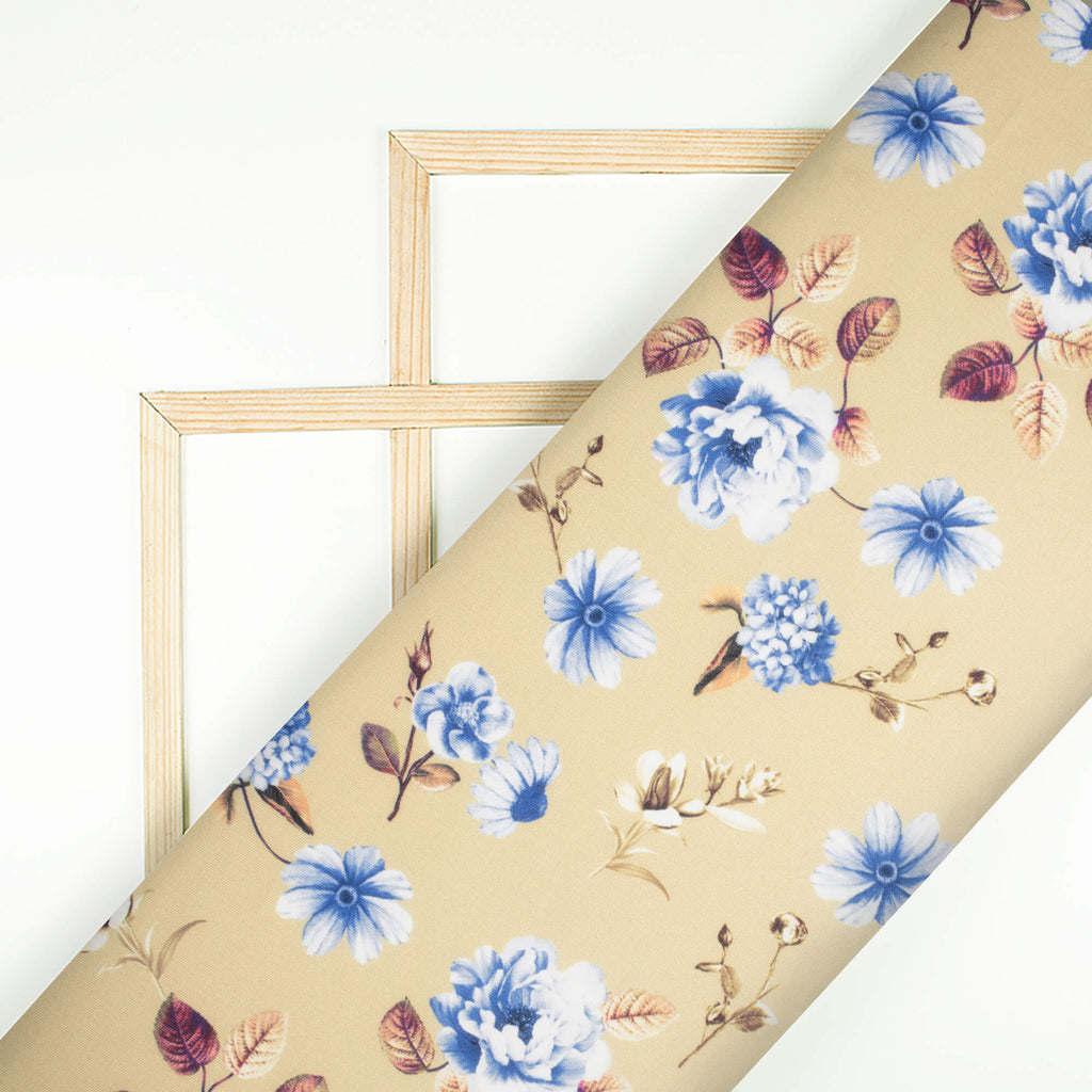 Beige And Blue Floral Pattern Digital Print Spongy Scuba Fabric (Width 60 Inches) - Fabcurate