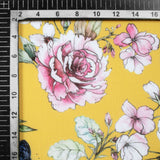 Yellow And Mauve Purple Floral Pattern Digital Print Spongy Scuba Fabric (Width 60 Inches) - Fabcurate