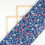 Navy Blue And Fuchsia Pattern Digital Print Spongy Scuba Fabric (Width 60 Inches) - Fabcurate