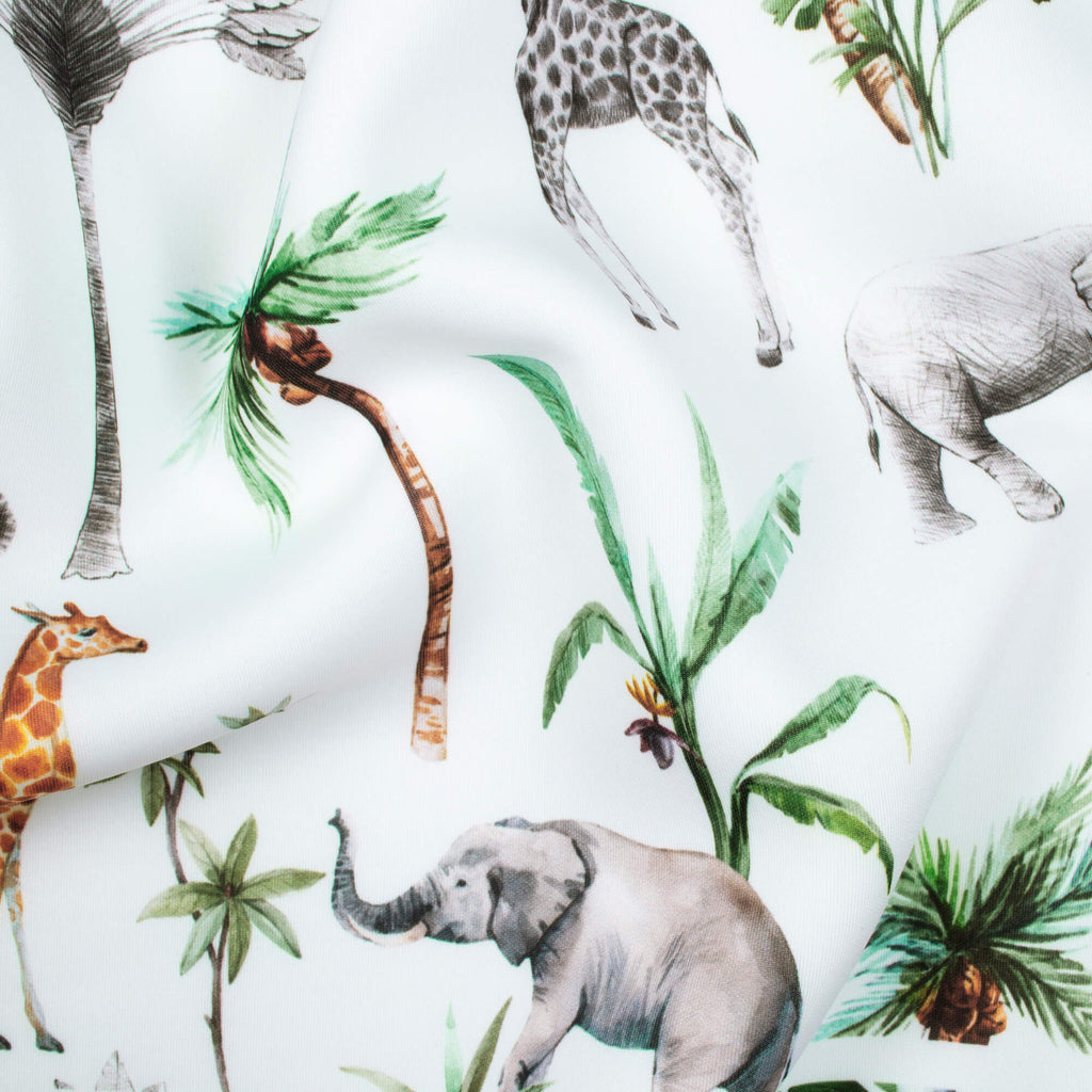 White And Grey Tropical Pattern Digital Print Spongy Scuba Fabric (Width 60 Inches) - Fabcurate