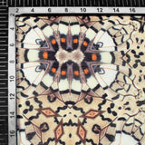 Oyster Beige And Black Butterfly Pattern Digital Print Chanderi Fabric - Fabcurate