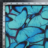 Cyan Blue And Black Butterfly Pattern Digital Print Chanderi Fabric - Fabcurate