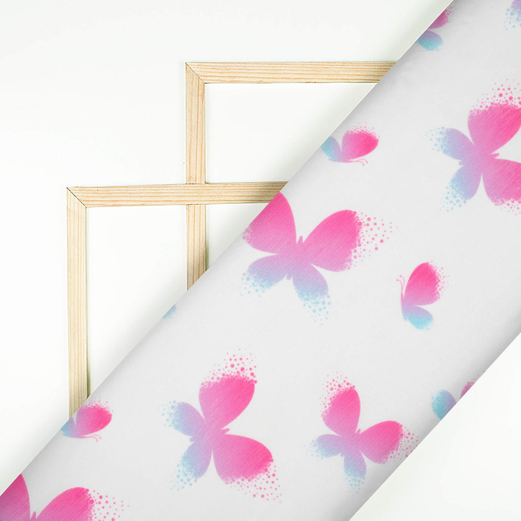 White And Dark Pink Butterfly Pattern Digital Print Chanderi Fabric - Fabcurate