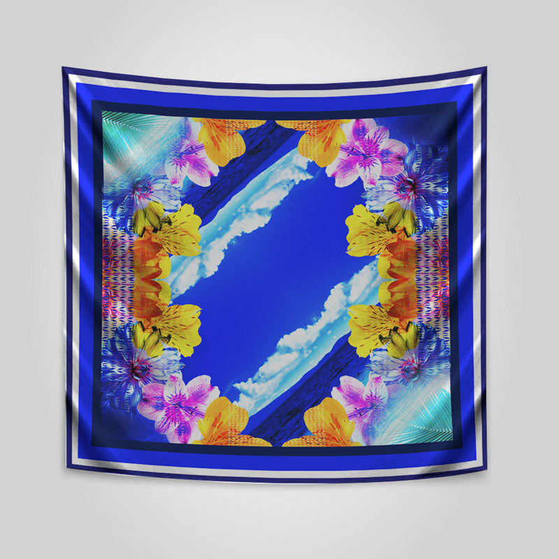 Tussar Silk Blue And Yellow Floral Scarf