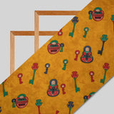 Mustard Object Pattern Screen Print Viscose Rayon Fabric