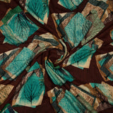 Coffee Brown And Green Geometrical Pattern Screen Print Viscose Rayon Fabric - Fabcurate