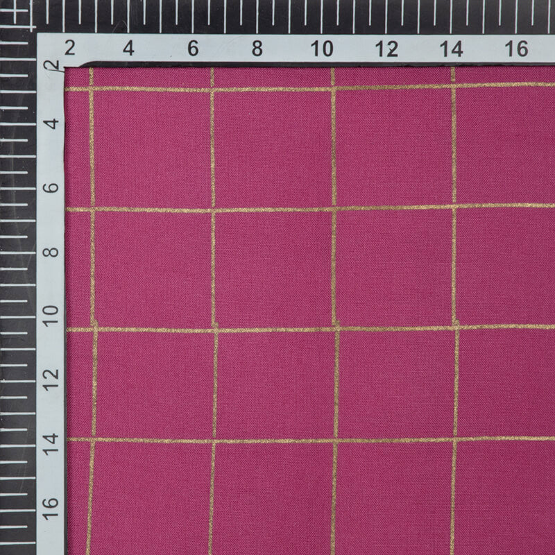 Fuchsia Pink And Golden Checks Pattern Foil Screen Print Viscose Rayon Fabric