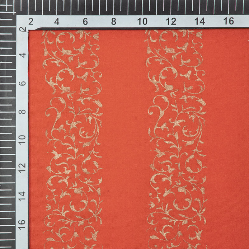 Orange And Golden Ethnic Pattern Foil Screen Print Viscose Rayon Fabric - Fabcurate