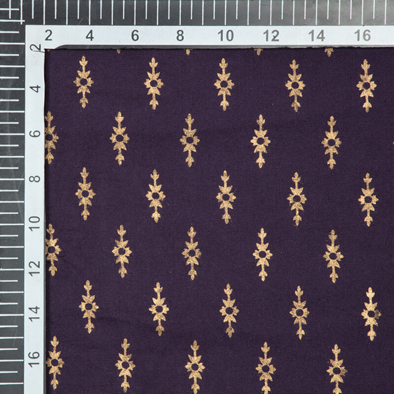 Purple And Golden Booti Pattern Foil Screen Print Viscose Rayon Fabric