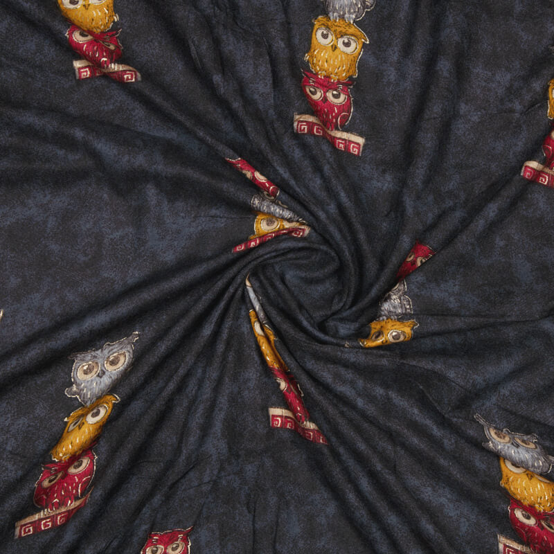 Dark Grey Animal Pattern Foil Screen Print Viscose Rayon Fabric