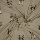 Beige  And Golden Warli Pattern Foil Screen Print Viscose Texture Rayon Fabric