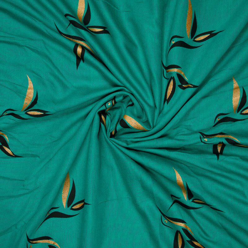 Teal And Golden Animal Pattern Foil Screen Print Viscose Texture Rayon Fabric