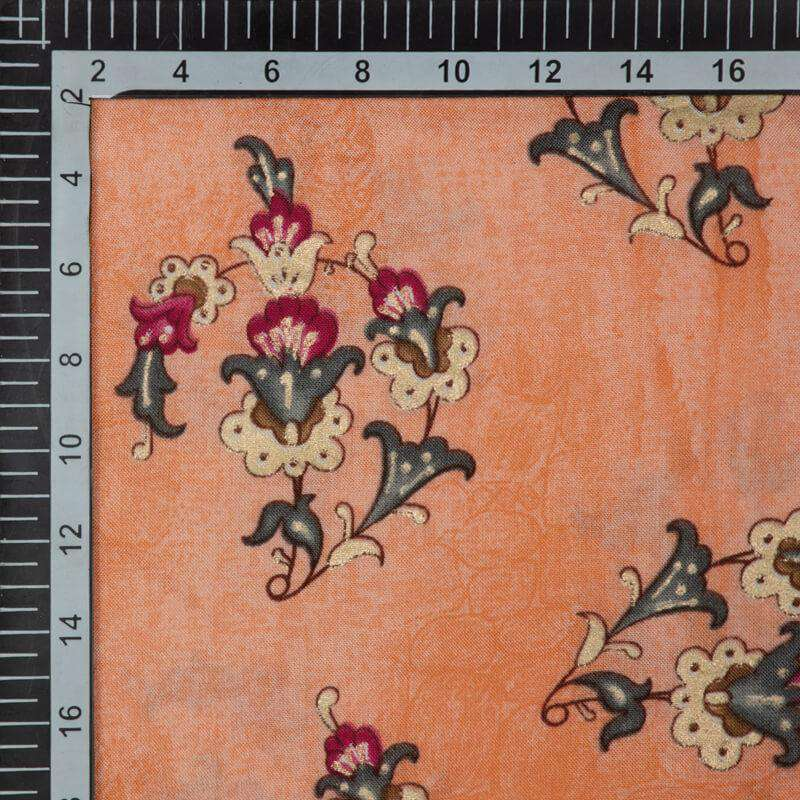 Pastel Orange Mughal Pattern Foil Screen Print Viscose Rayon Fabric