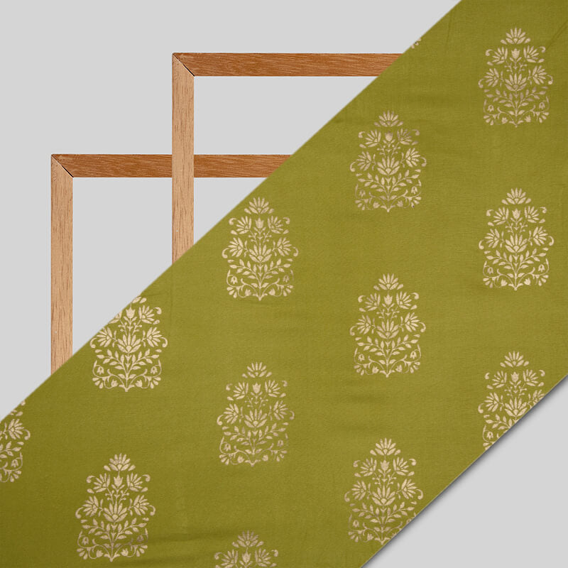 Green And Golden Mughal Pattern Foil Screen Print Viscose Rayon Fabric
