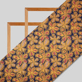Mustard And Blue Floral Pattern Screen Print Viscose Dobby Modal Rayon Fabric
