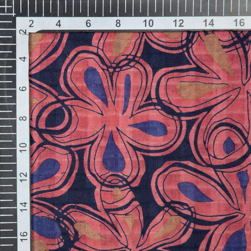 Ruby Pink And Blue Floral Pattern Screen Print Viscose Dobby Modal Rayon Fabric