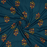Yale Blue Floral Pattern Screen Print Viscose Premium Rayon Fabric