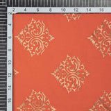 Orange And Golden Mughal Pattern Foil Screen Print Viscose Rayon Fabric