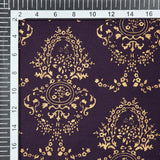 Purple And Golden Ethnic Pattern Foil Screen Print Viscose Rayon Fabric