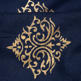 Royal Blue And Golden Ethnic Pattern Foil Screen Print Viscose Rayon Fabric