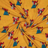 Yellow And Red Object Pattern Screen Print Viscose Rayon Fabric