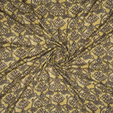 Mehendi Green And Brown Floral Pattern Screen Print Viscose Rayon Fabric - Fabcurate