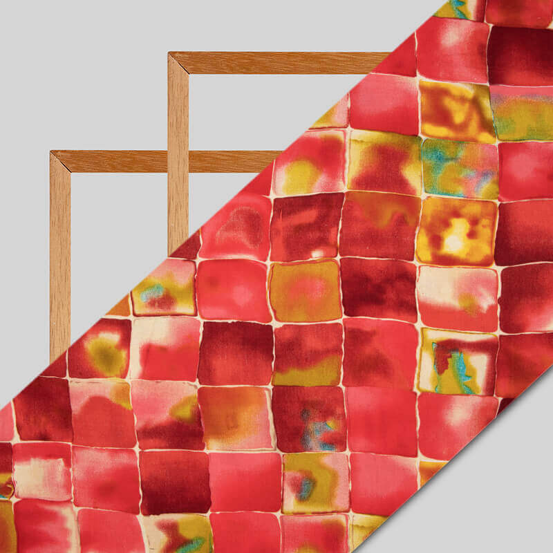 Red Abstract Pattern Screen Print Viscose Rayon Fabric