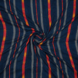 Royal Blue And Red Stripes Pattern Screen Print Viscose Rayon Fabric - Fabcurate