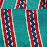 Teal And Red Stripes Pattern Screen Print Viscose Rayon Fabric