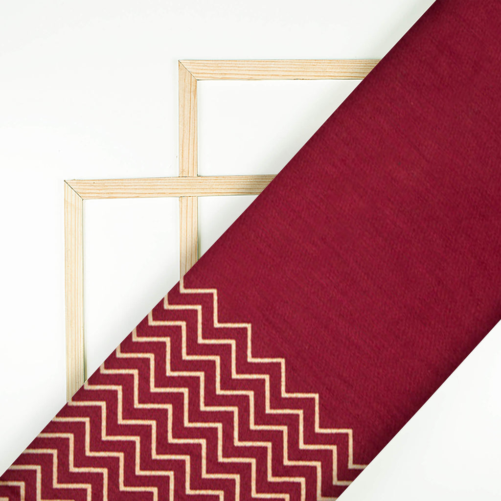 Maroon And Golden Foil Screen Print Glazed Cotton Fabric With Border - Fabcurate