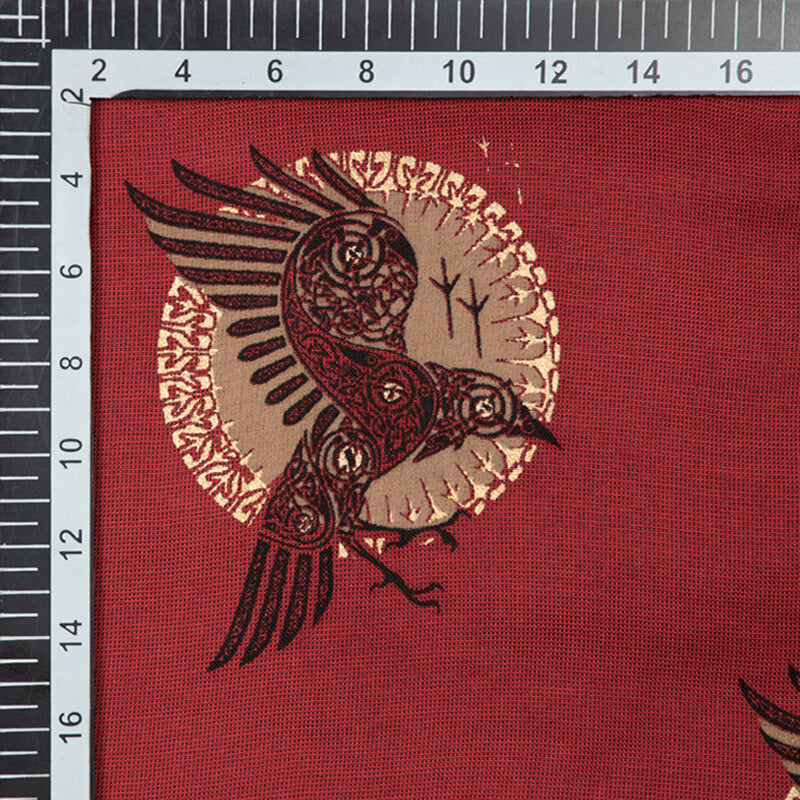 Red And Golden Animal Pattern Foil Screen Print Viscose Texture Rayon Fabric - Fabcurate