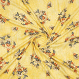 Yellow Mughal Pattern Foil Screen Print Viscose Rayon Fabric - Fabcurate