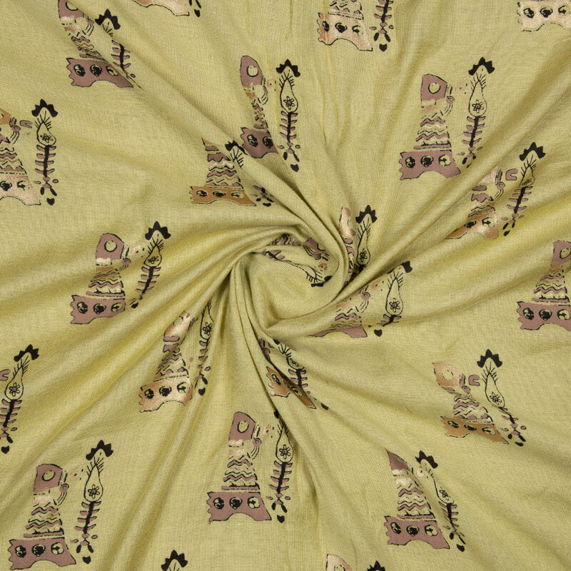 Light Yellow And Golden Object Pattern Foil Screen Print Viscose Texture Rayon Fabric