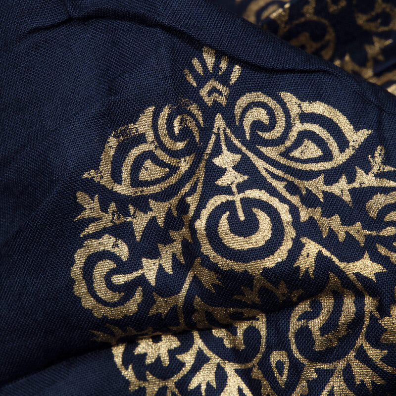 Navy Blue And Golden Mughal Pattern Foil Screen Print Viscose Rayon Fabric