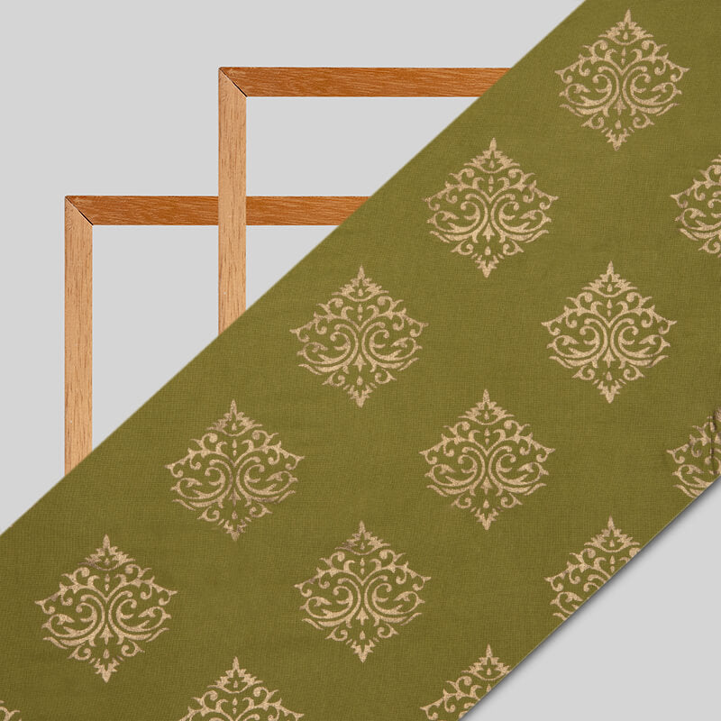 Green And Golden Mughal Pattern Foil Screen Print Viscose Rayon Fabric - Fabcurate