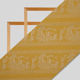 Yellow Ethnic Pattern Gold Foil Screen Print Chanderi Fabric (Width 52 inches)