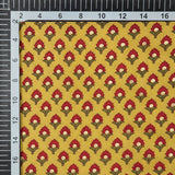 Yellow Floral Booti Pattern Foil Screen Print Viscose Rayon Fabric