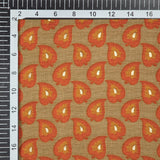 Beige And Orange Leaf Pattern Foil Screen Print Viscose Rayon Fabric