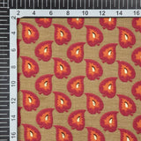 Beige And Red Leaf Pattern Foil Screen Print Viscose Rayon Fabric