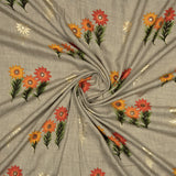 Light Grey And Orange Floral Pattern Foil Screen Print Viscose Rayon Fabric