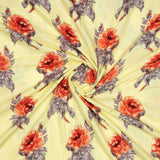 Yellow Floral Pattern Foil Screen Print Viscose Rayon Fabric