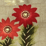Light Grey And Red Floral Pattern Foil Screen Print Viscose Rayon Fabric