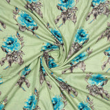 Pastel Green Floral Pattern Foil Screen Print Viscose Rayon Fabric