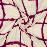 Off White And Purple Checks Pattern Screen Print Viscose Dobby Modal Rayon Fabric - Fabcurate