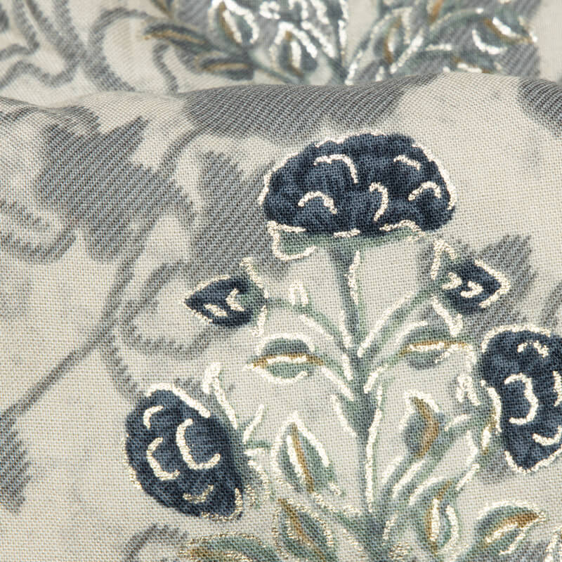 Light Grey Mughal Floral Pattern Foil Screen Print Viscose Rayon Fabric