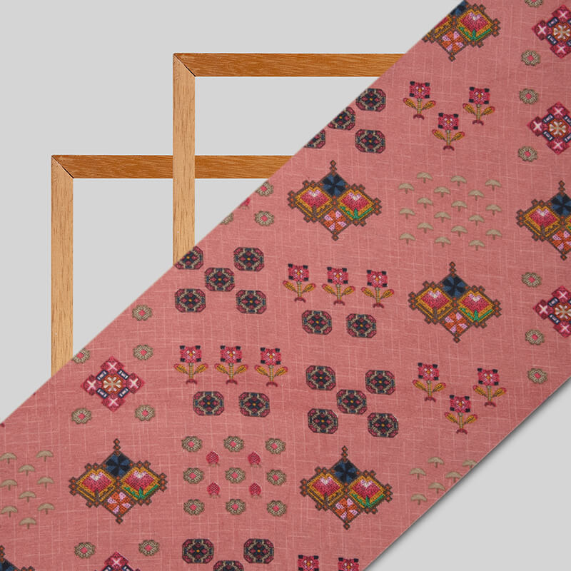 Pink Geometric Pattern Screen Print Viscose Linen By Rayon Fabric - Fabcurate